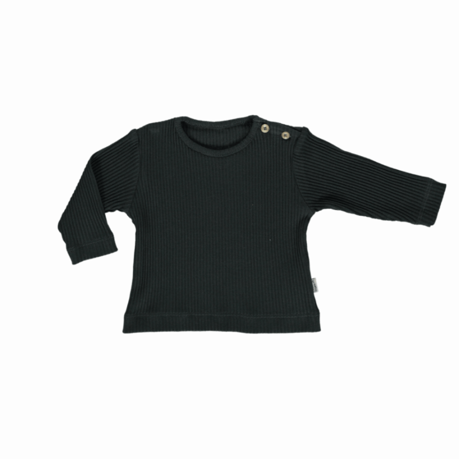 T-shirt Citronelle Côtelé Pirate Black de Poudre Organic - Petit Bloomer